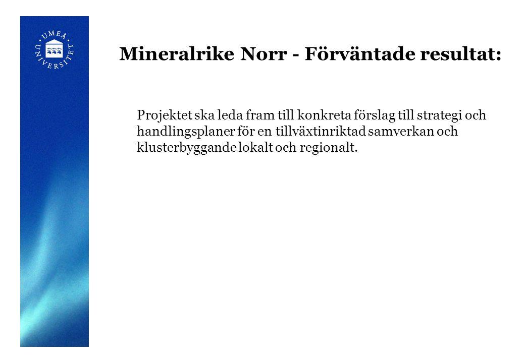 Mineralrike Norr - Förväntade resultat: Projektet ska leda fram till konkreta förslag till strategi och handlingsplaner för en tillväxtinriktad samverkan och klusterbyggande lokalt och regionalt.