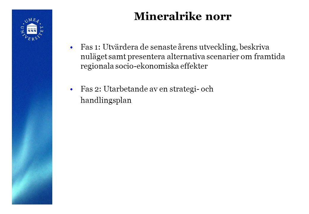 Mineralrike norr Fas 1: Utvärdera de senaste årens utveckling, beskriva nuläget samt presentera alternativa scenarier om framtida regionala socio-ekonomiska effekter Fas 2: Utarbetande av en strategi- och handlingsplan