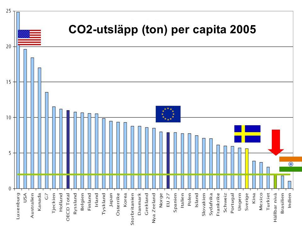 13 CO2-utsläpp (ton) per capita 2005
