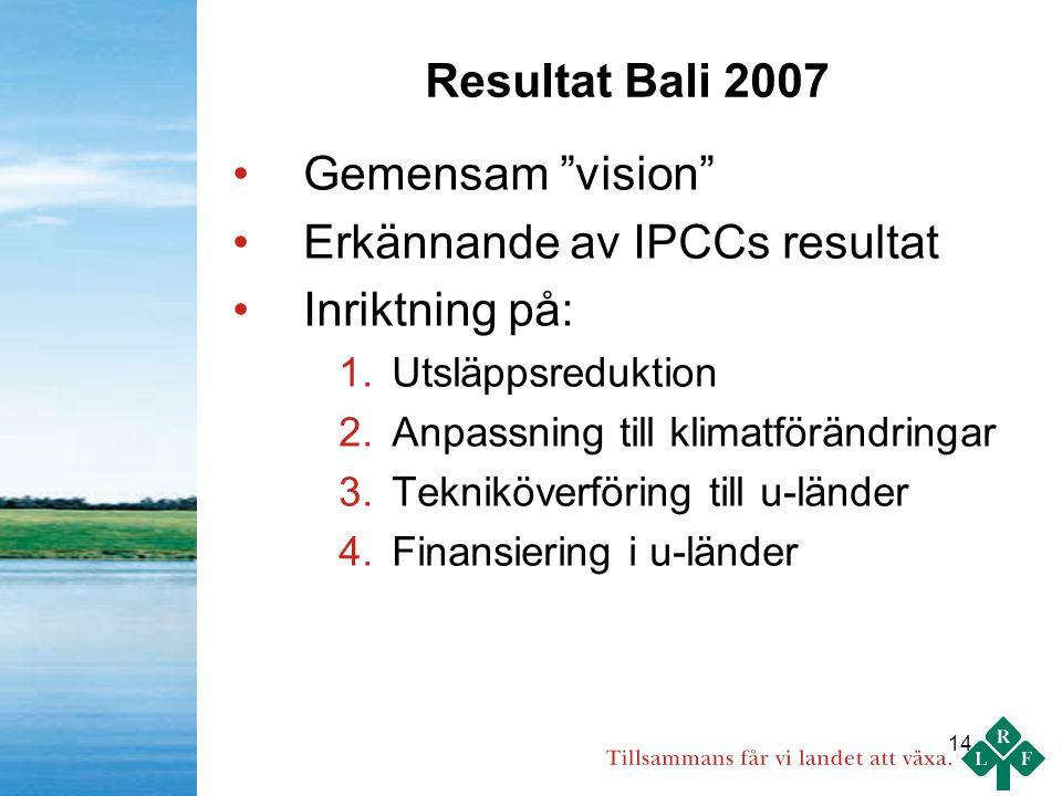 14 Resultat Bali 2007 Gemensam vision Erkännande av IPCCs resultat Inriktning på: 1.Utsläppsreduktion 2.Anpassning till klimatförändringar 3.Tekniköverföring till u-länder 4.Finansiering i u-länder