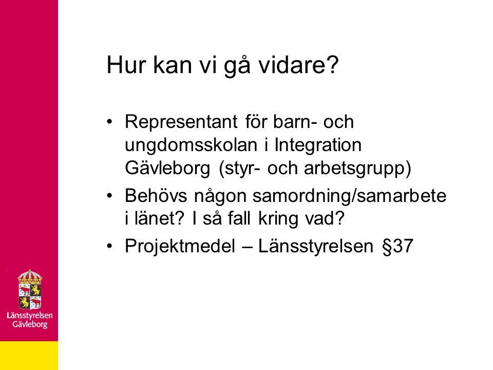 Hur kan vi gå vidare? Representant för barn- och ungdomsskolan i Integration Gävleborg (styr- och arbetsgrupp) Behövs någon samordning/samarbete i län