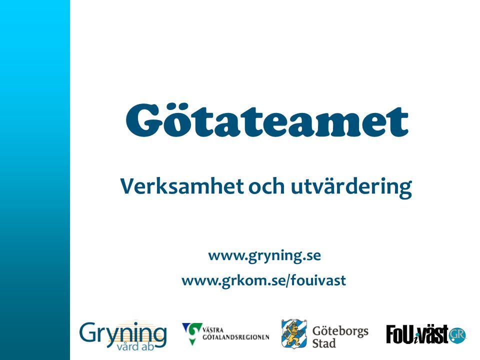 Götateamet Verksamhet och utvärdering www.grkom.se/fouivast www.gryning.se