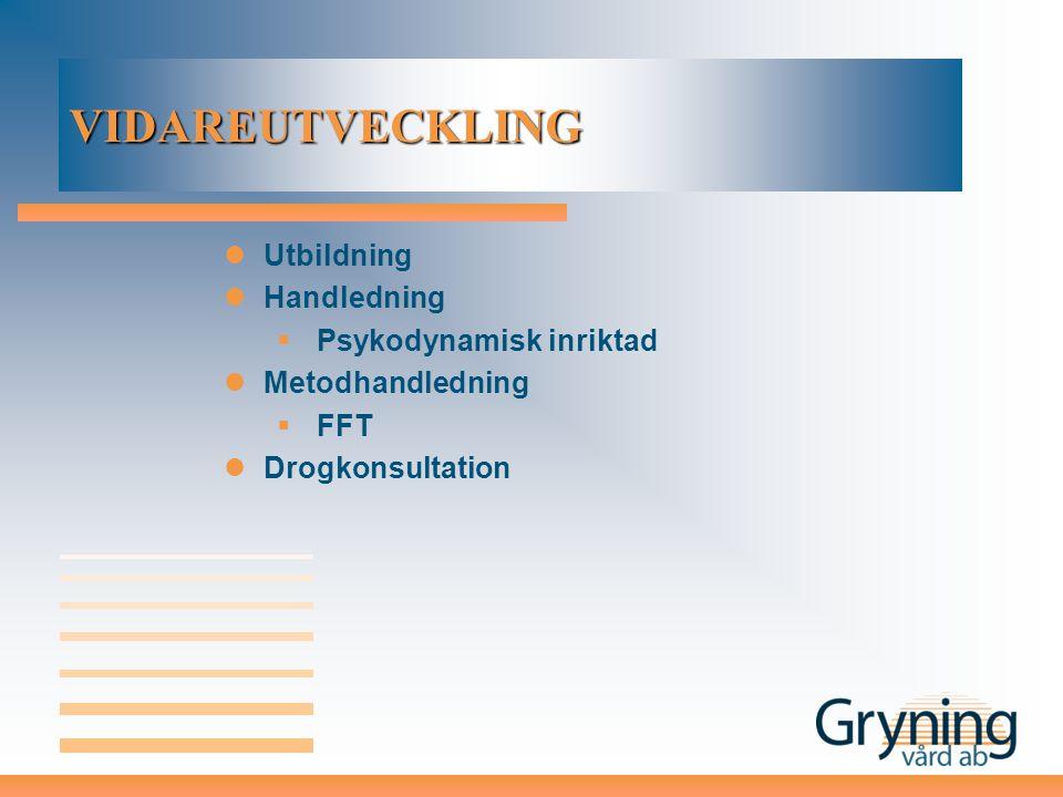VIDAREUTVECKLING Utbildning Handledning  Psykodynamisk inriktad Metodhandledning  FFT Drogkonsultation
