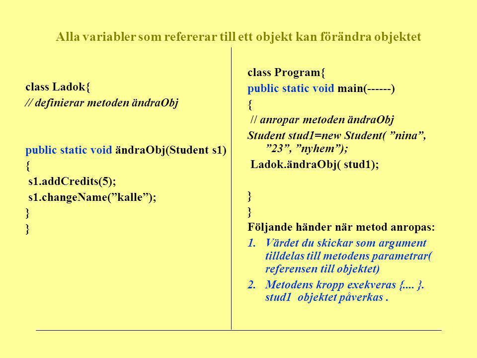 Alla variabler som refererar till ett objekt kan förändra objektet class Ladok{ // definierar metoden ändraObj public static void ändraObj(Student s1)