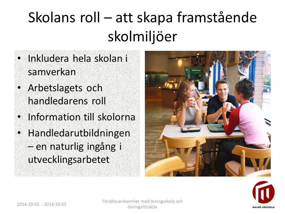 Skolans roll – att skapa framstående skolmiljöer Inkludera hela skolan i samverkan Arbetslagets och handledarens roll Information till skolorna Handle