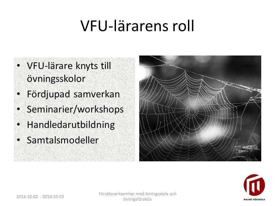VFU-lärarens roll VFU-lärare knyts till övningsskolor Fördjupad samverkan Seminarier/workshops Handledarutbildning Samtalsmodeller 2014-10-02 - 2014-1