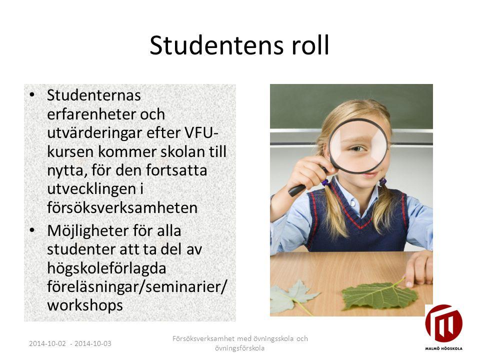 Studentens roll Studenternas erfarenheter och utvärderingar efter VFU- kursen kommer skolan till nytta, för den fortsatta utvecklingen i försöksverksamheten Möjligheter för alla studenter att ta del av högskoleförlagda föreläsningar/seminarier/ workshops 2014-10-02 - 2014-10-03 Försöksverksamhet med övningsskola och övningsförskola