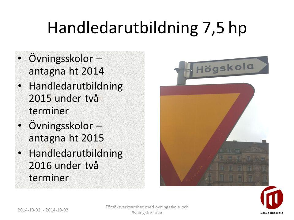 Handledarutbildning 7,5 hp Övningsskolor – antagna ht 2014 Handledarutbildning 2015 under två terminer Övningsskolor – antagna ht 2015 Handledarutbild