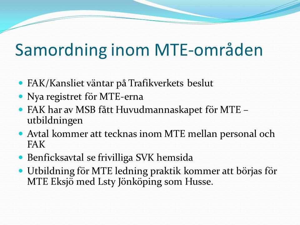 Samordning inom MTE-områden FAK/Kansliet väntar på Trafikverkets beslut Nya registret för MTE-erna FAK har av MSB fått Huvudmannaskapet för MTE – utbildningen Avtal kommer att tecknas inom MTE mellan personal och FAK Benficksavtal se frivilliga SVK hemsida Utbildning för MTE ledning praktik kommer att börjas för MTE Eksjö med Lsty Jönköping som Husse.