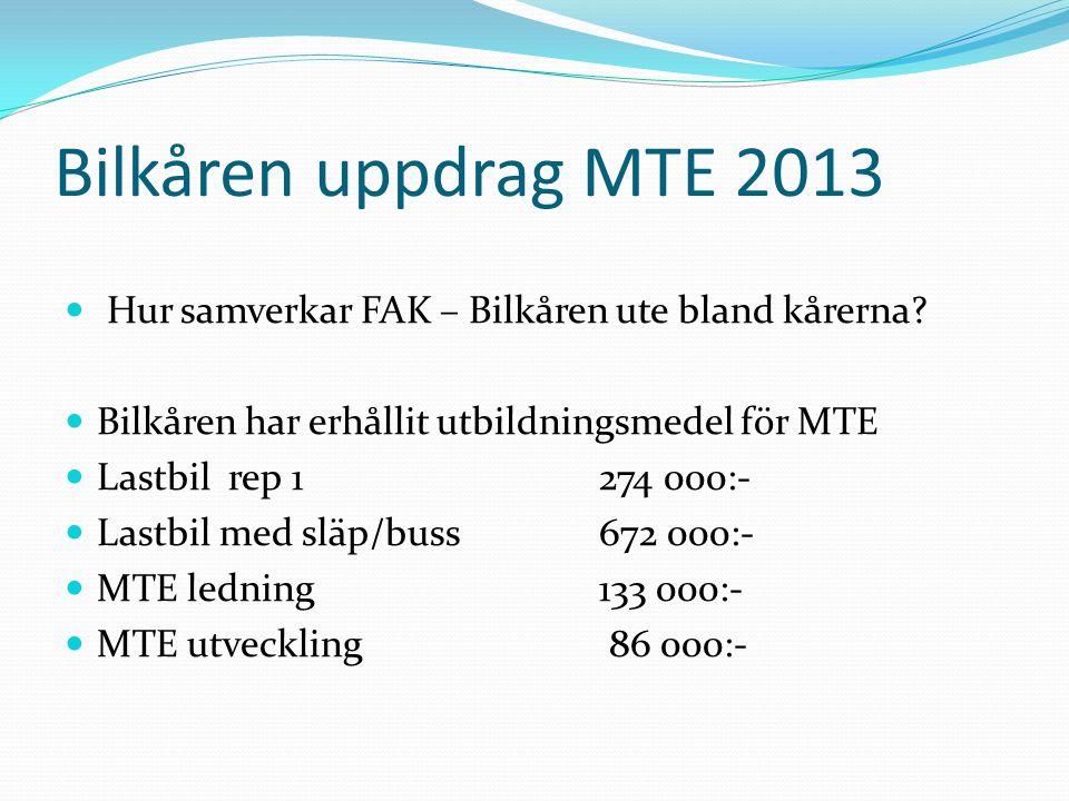 Bilkåren uppdrag MTE 2013 Hur samverkar FAK – Bilkåren ute bland kårerna.