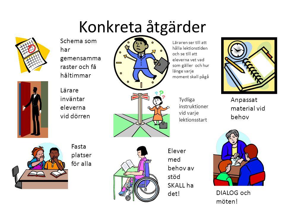 Konkreta åtgärder Schema som har gemensamma raster och få håltimmar Lärare inväntar eleverna vid dörren Läraren ser till att hålla lektionstiden och s