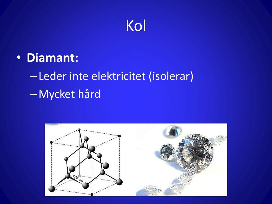 Kol Diamant: – Leder inte elektricitet (isolerar) – Mycket hård