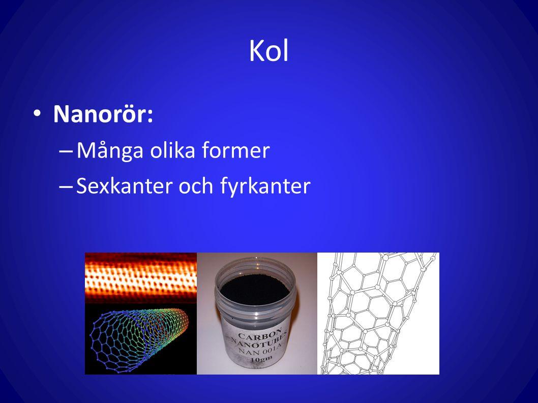 Kol Kolets karaktär: – Ickemetall – Fast vid rumstemperatur – Massa: 12g/mol – 6 protoner i kärnan – Ingår vanligtvis fyra bindningar med andra atomer