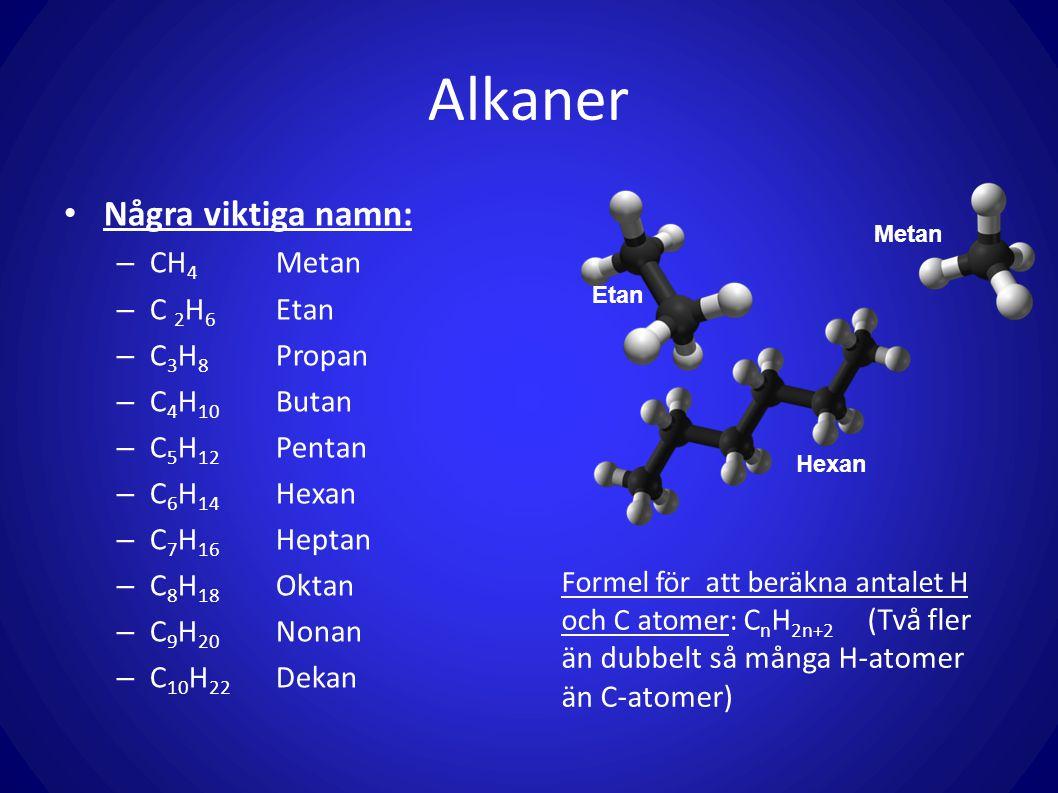 Alkaner Några viktiga namn: – CH 4 Metan – C 2 H 6 Etan – C 3 H 8 Propan – C 4 H 10 Butan – C 5 H 12 Pentan – C 6 H 14 Hexan – C 7 H 16 Heptan – C 8 H