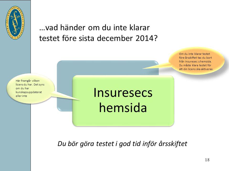 Insuresecs hemsida Du bör göra testet i god tid inför årsskiftet …vad händer om du inte klarar testet före sista december 2014? 18 Om du inte klarar t