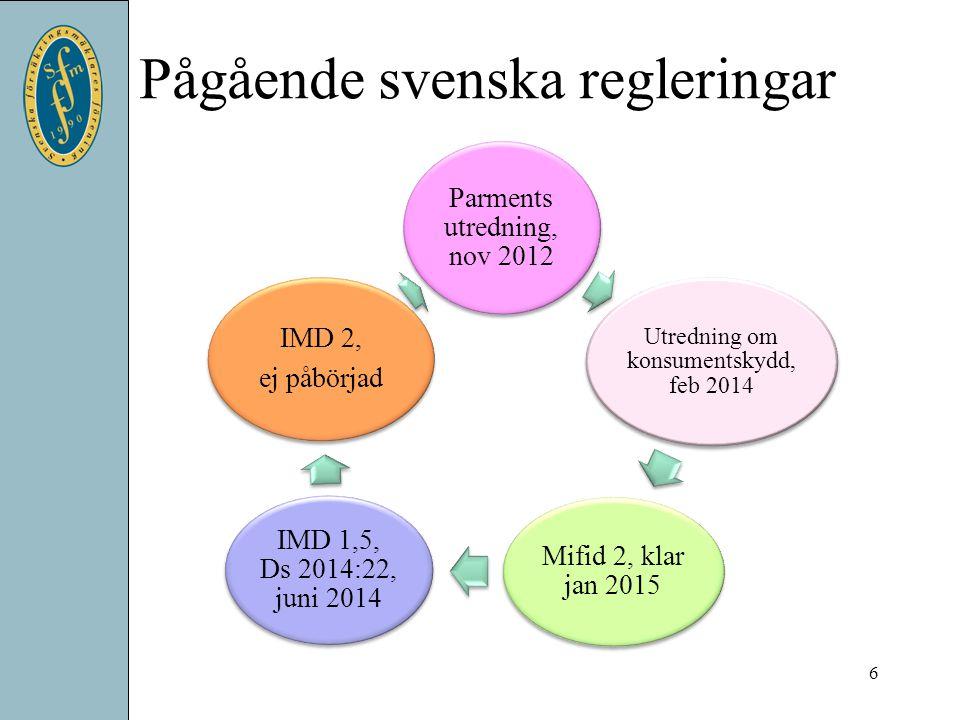 Pågående svenska regleringar 6 Parments utredning, nov 2012 Utredning om konsumentskydd, feb 2014 Mifid 2, klar jan 2015 IMD 1,5, Ds 2014:22, juni 201