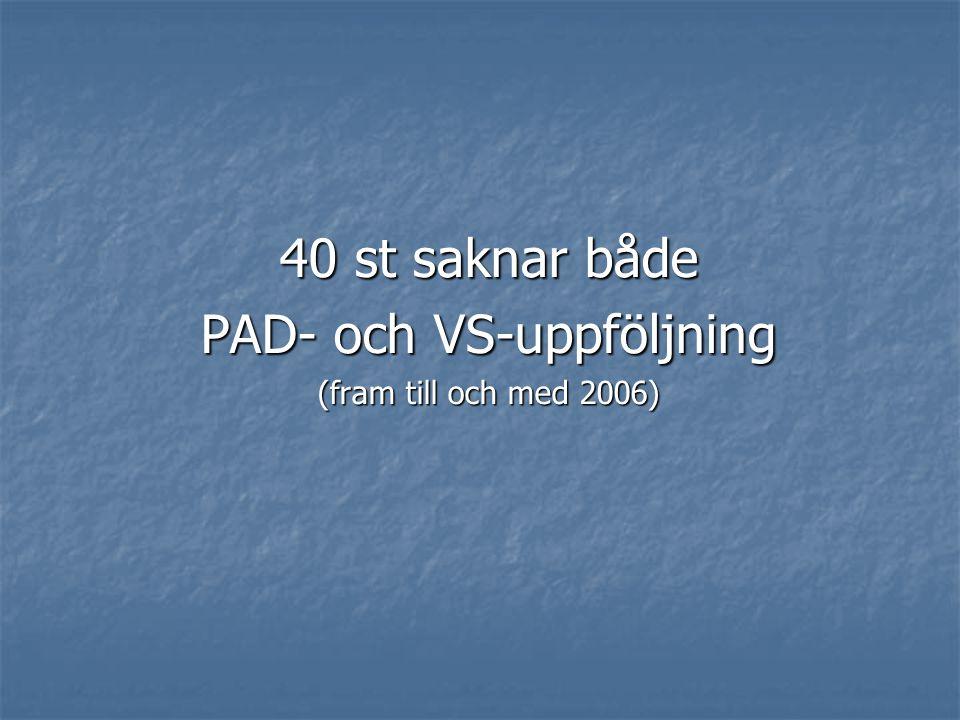 40 st saknar både PAD- och VS-uppföljning (fram till och med 2006)