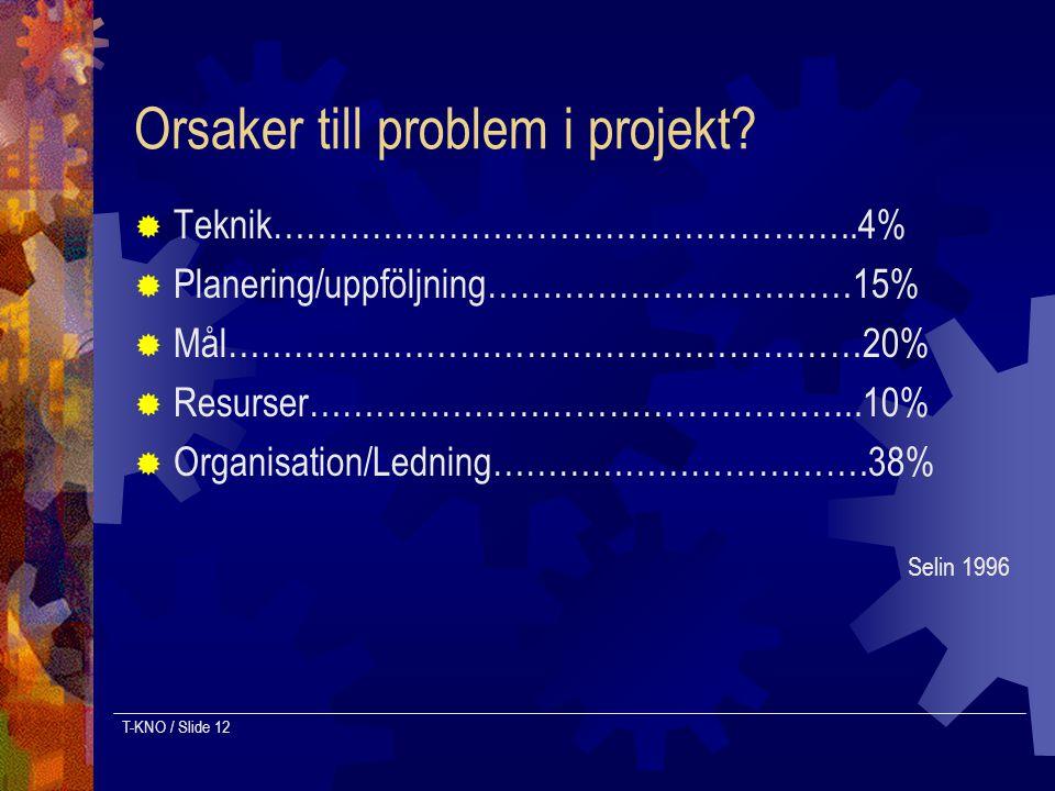 T-KNO / Slide 12 Orsaker till problem i projekt?  Teknik……………………………………………..4%  Planering/uppföljning……………………………15%  Mål…………………………………………………20%  Res