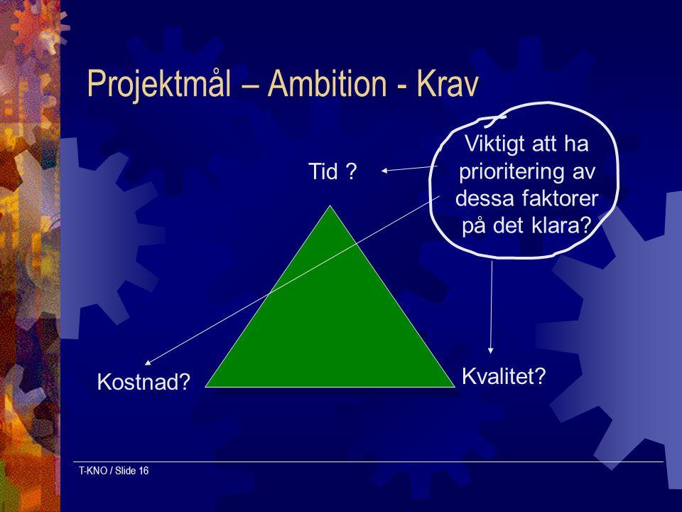 T-KNO / Slide 16 Projektmål – Ambition - Krav Tid ? Kostnad? Kvalitet? Viktigt att ha prioritering av dessa faktorer på det klara?
