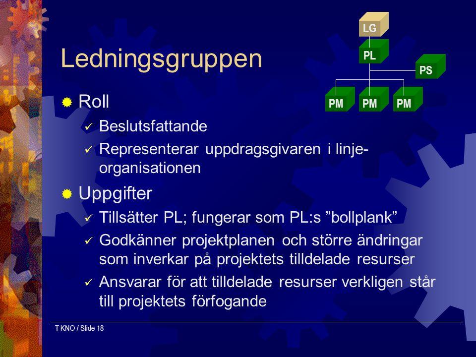 T-KNO / Slide 18 Ledningsgruppen  Roll Beslutsfattande Representerar uppdragsgivaren i linje- organisationen  Uppgifter Tillsätter PL; fungerar som