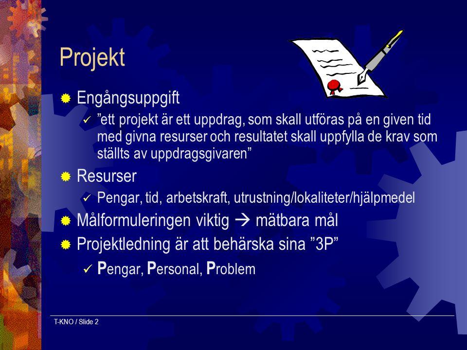"""T-KNO / Slide 2 Projekt  Engångsuppgift """"ett projekt är ett uppdrag, som skall utföras på en given tid med givna resurser och resultatet skall uppfyl"""