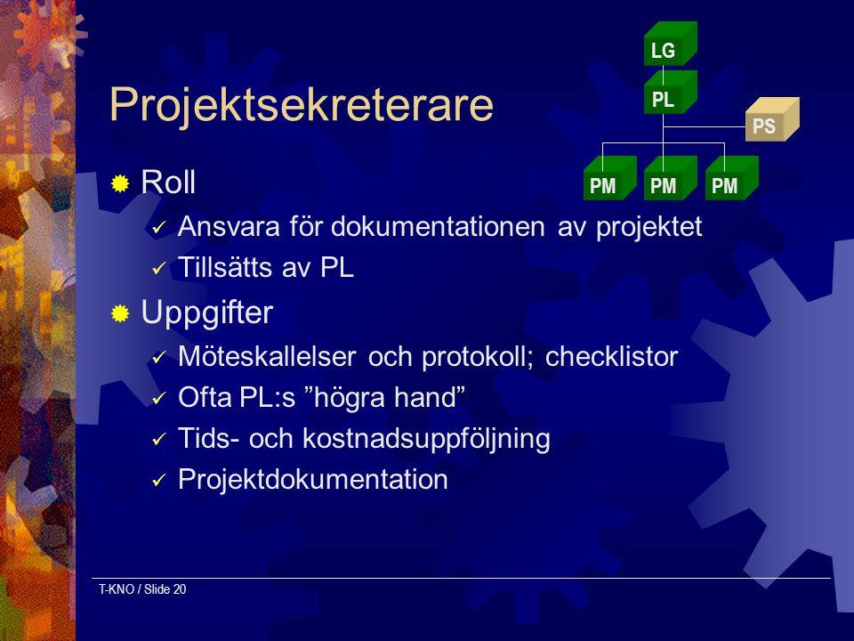 T-KNO / Slide 20 Projektsekreterare  Roll Ansvara för dokumentationen av projektet Tillsätts av PL  Uppgifter Möteskallelser och protokoll; checklis