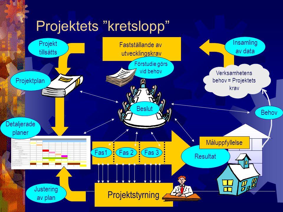 """T-KNO / Slide 25 Projektets """"kretslopp"""" Behov Verksamhetens behov = Projektets krav Insamling av data Fastställande av utvecklingskrav Projekt tillsät"""