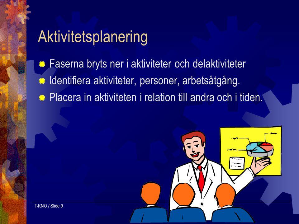 T-KNO / Slide 9 Aktivitetsplanering  Faserna bryts ner i aktiviteter och delaktiviteter  Identifiera aktiviteter, personer, arbetsåtgång.  Placera