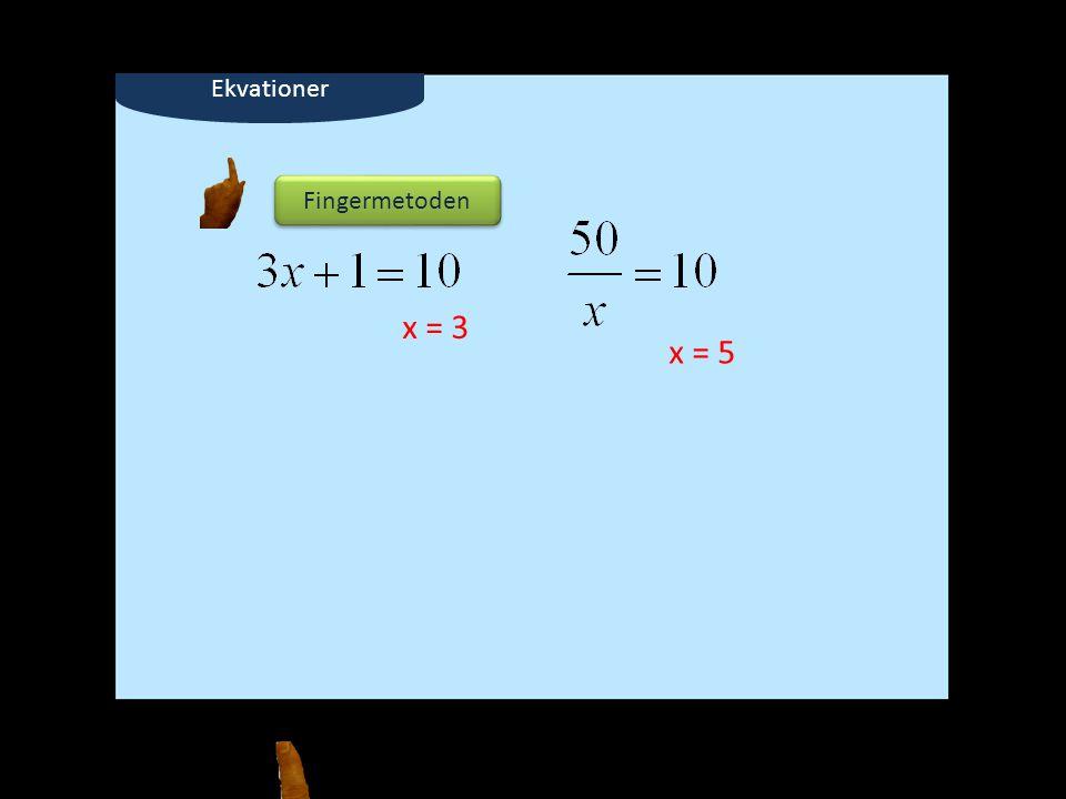 Fingermetoden x = 3 x = 5 Ekvationer