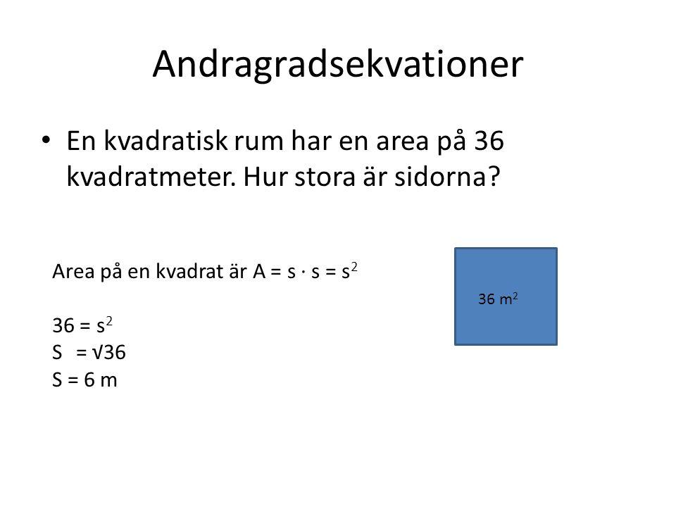 Andragradsekvationer En kvadratisk rum har en area på 36 kvadratmeter. Hur stora är sidorna? 36 m 2 Area på en kvadrat är A = s ∙ s = s 2 36 = s 2 S =
