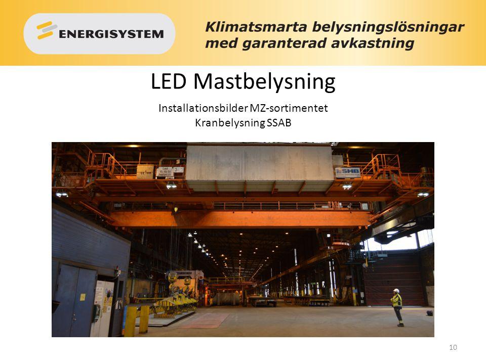 10 LED Mastbelysning Installationsbilder MZ-sortimentet Kranbelysning SSAB