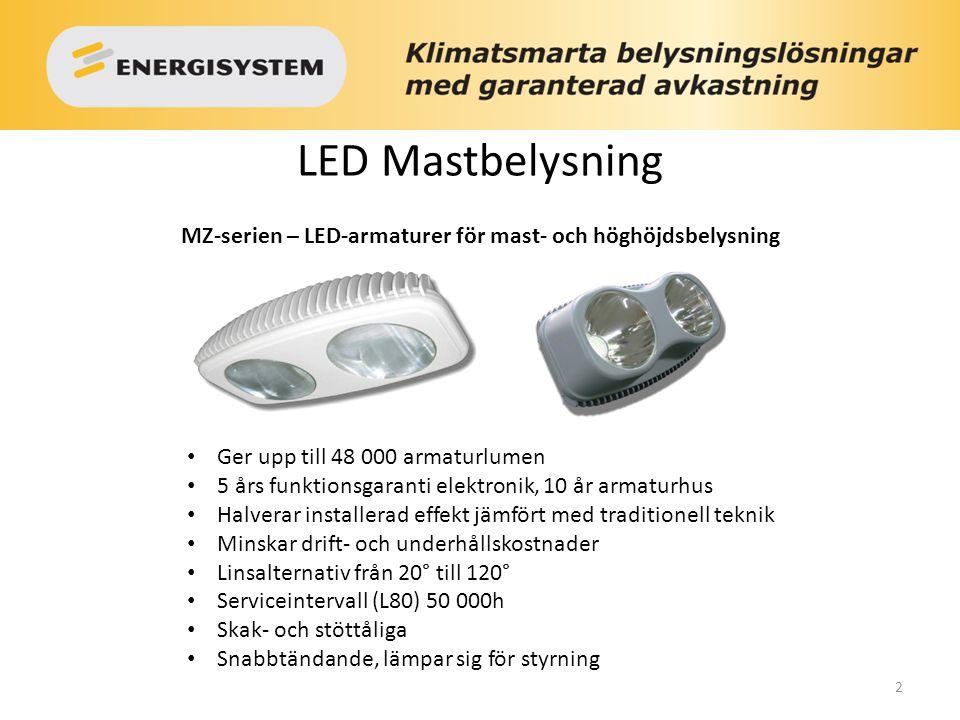 2 MZ-serien – LED-armaturer för mast- och höghöjdsbelysning Ger upp till 48 000 armaturlumen 5 års funktionsgaranti elektronik, 10 år armaturhus Halve