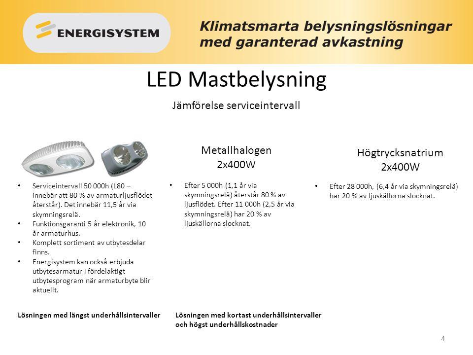 4 LED Mastbelysning Serviceintervall 50 000h (L80 – innebär att 80 % av armaturljusflödet återstår). Det innebär 11,5 år via skymningsrelä. Funktionsg