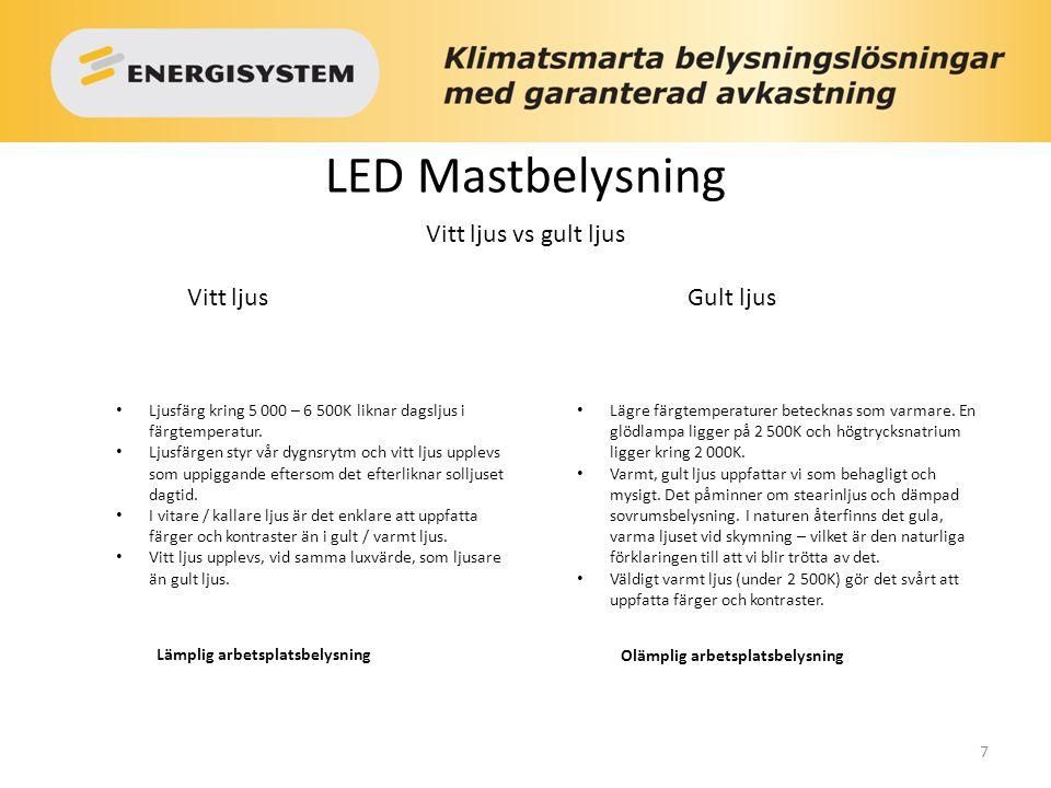 7 LED Mastbelysning Vitt ljusGult ljus Ljusfärg kring 5 000 – 6 500K liknar dagsljus i färgtemperatur. Ljusfärgen styr vår dygnsrytm och vitt ljus upp