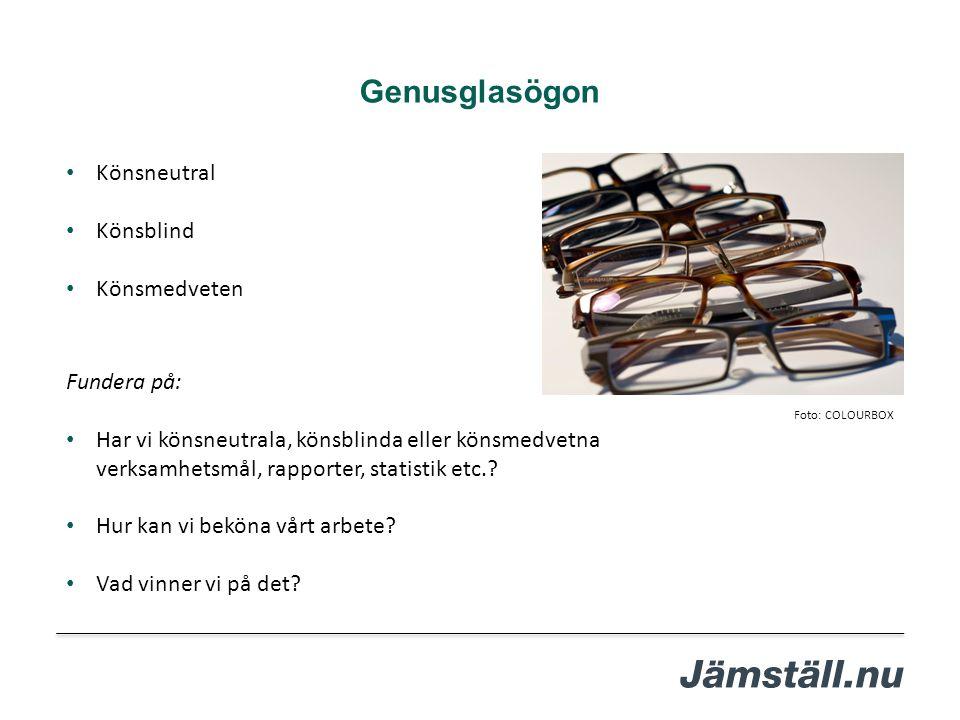 Genusglasögon Könsneutral Könsblind Könsmedveten Fundera på: Har vi könsneutrala, könsblinda eller könsmedvetna verksamhetsmål, rapporter, statistik e