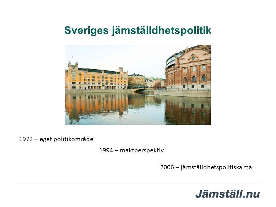 Sveriges jämställdhetspolitik 1994 – maktperspektiv 1972 – eget politikområde 2006 – jämställdhetspolitiska mål