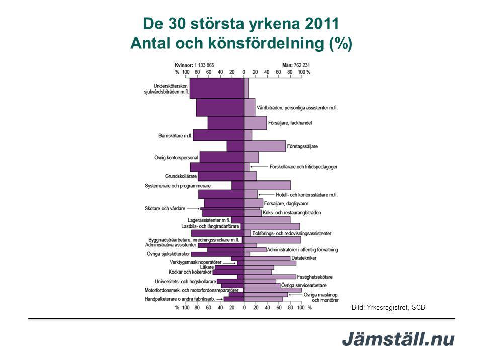 Bild: Yrkesregistret, SCB De 30 största yrkena 2011 Antal och könsfördelning (%)
