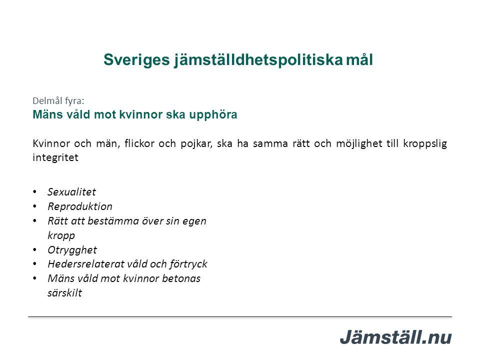 Delmål fyra: Mäns våld mot kvinnor ska upphöra Kvinnor och män, flickor och pojkar, ska ha samma rätt och möjlighet till kroppslig integritet Sveriges