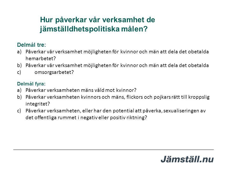 Delmål tre: a)Påverkar vår verksamhet möjligheten för kvinnor och män att dela det obetalda hemarbetet? b)Påverkar vår verksamhet möjligheten för kvin
