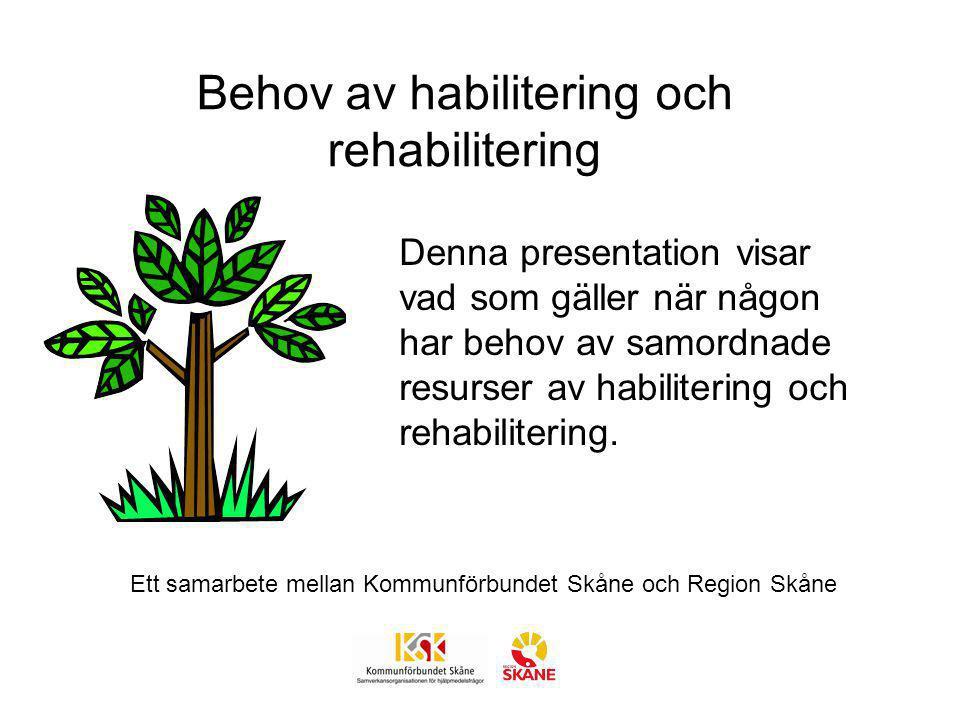 Behov av habilitering och rehabilitering Samordning ska ske av olika instansers insatser, t ex hälso- och sjukvården, socialtjänsten, skolan Socialstyrelsens föreskrift SOSFS 2008:20