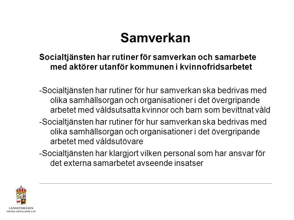 Samverkan Socialtjänsten har rutiner för samverkan och samarbete när det gäller kvinnofridsarbetet i kommunen -Rutiner för samverkan -Personal som har ansvar för samarbetet