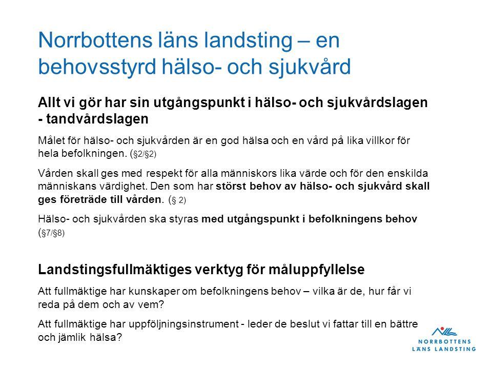 Norrbottens läns landsting – en behovsstyrd hälso- och sjukvård Allt vi gör har sin utgångspunkt i hälso- och sjukvårdslagen - tandvårdslagen Målet för hälso- och sjukvården är en god hälsa och en vård på lika villkor för hela befolkningen.