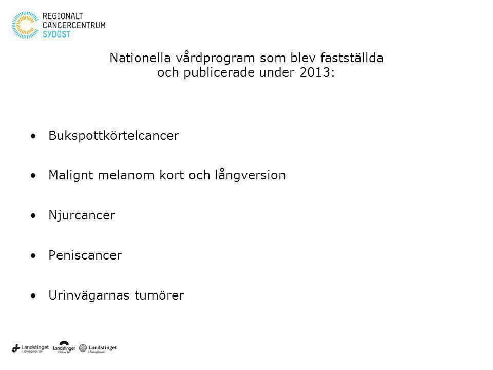 Nationella vårdprogram som blev fastställda och publicerade under 2013: Bukspottkörtelcancer Malignt melanom kort och långversion Njurcancer Peniscanc