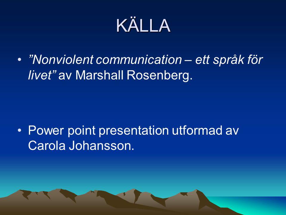 KÄLLA Nonviolent communication – ett språk för livet av Marshall Rosenberg.