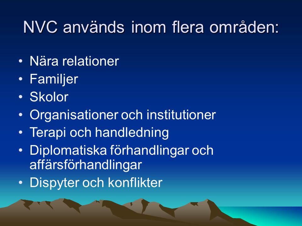 NVC används inom flera områden: Nära relationer Familjer Skolor Organisationer och institutioner Terapi och handledning Diplomatiska förhandlingar och affärsförhandlingar Dispyter och konflikter