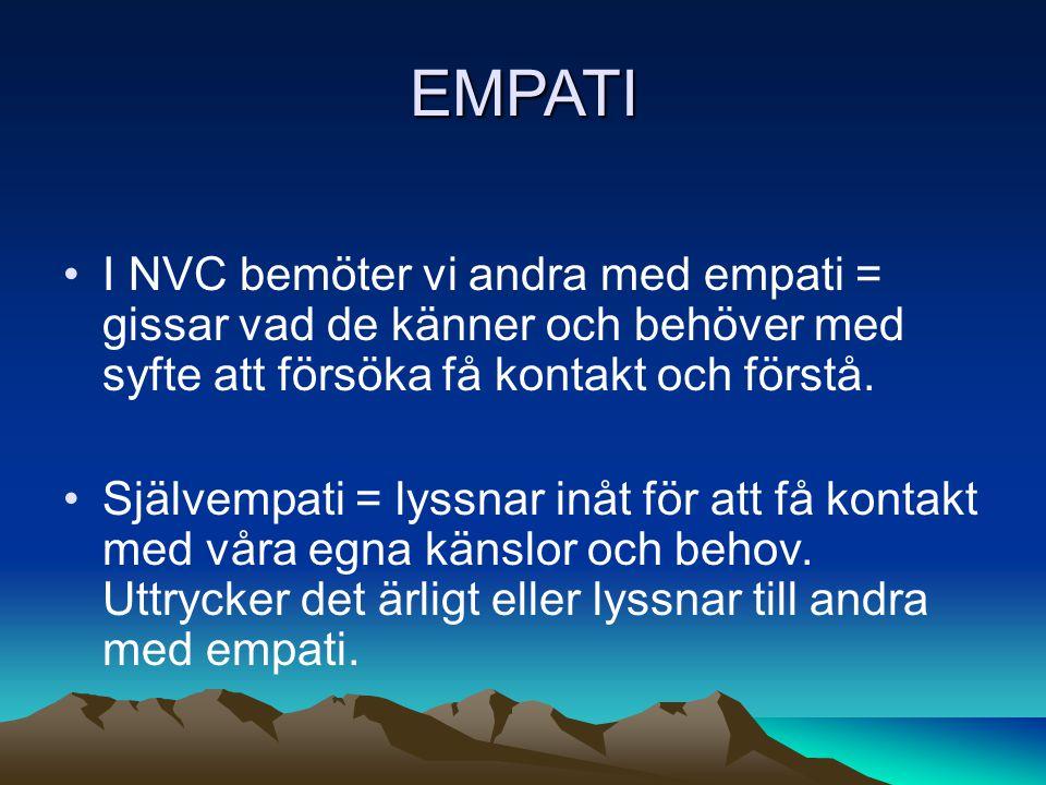 EMPATI I NVC bemöter vi andra med empati = gissar vad de känner och behöver med syfte att försöka få kontakt och förstå.