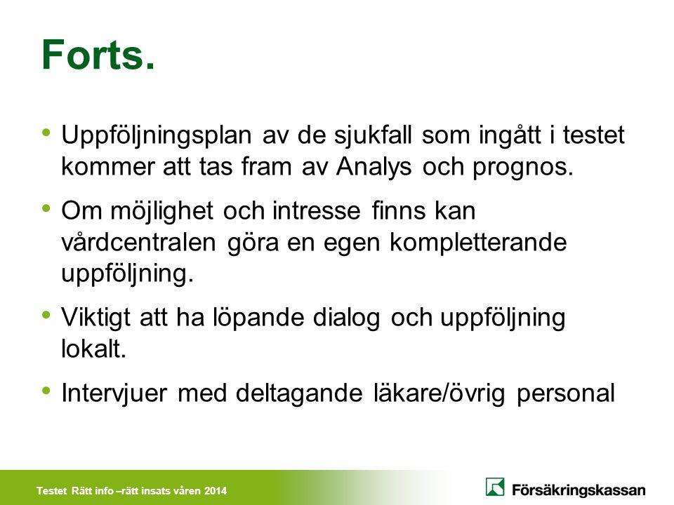 Testet Rätt info –rätt insats våren 2014 Forts. Uppföljningsplan av de sjukfall som ingått i testet kommer att tas fram av Analys och prognos. Om möjl