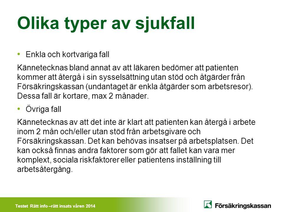 Testet Rätt info –rätt insats våren 2014 Beskrivning av arbetssättet Läkaren (ev.