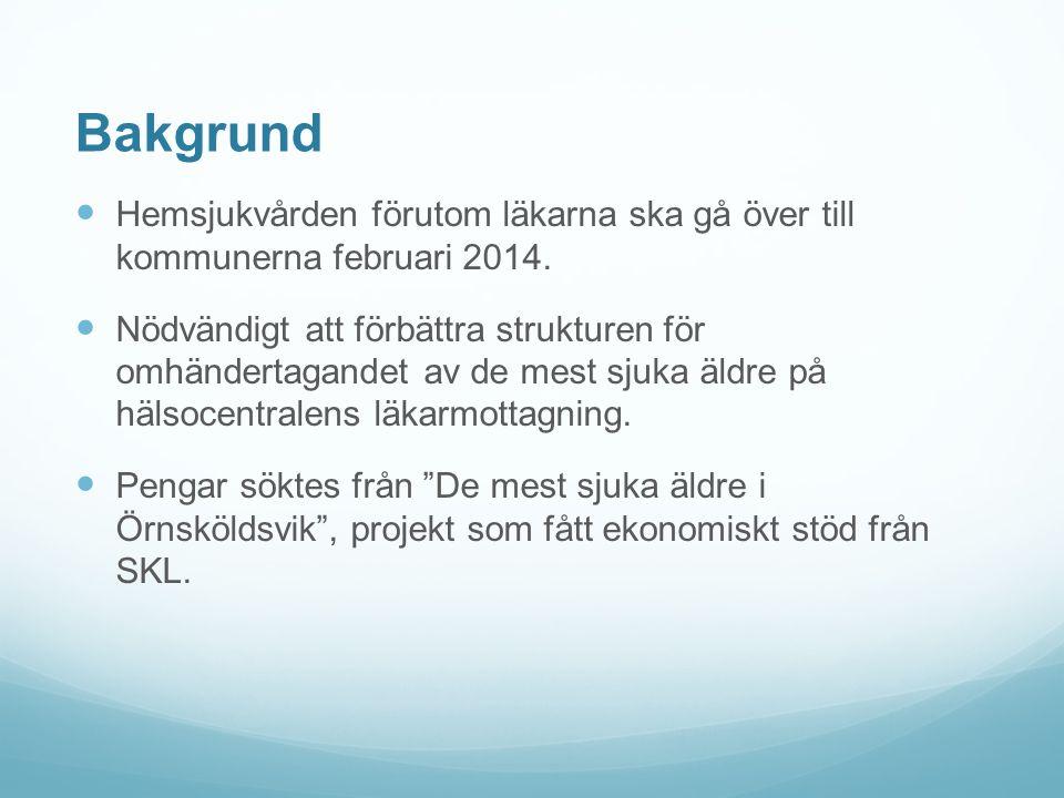Bakgrund Hemsjukvården förutom läkarna ska gå över till kommunerna februari 2014. Nödvändigt att förbättra strukturen för omhändertagandet av de mest