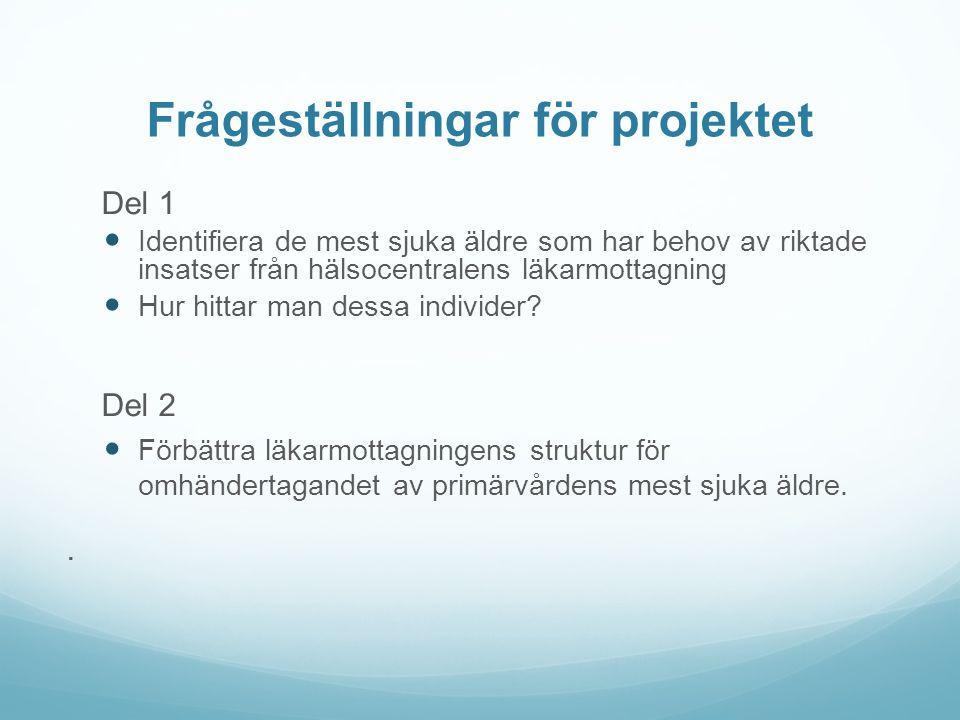 Frågeställningar för projektet Del 1 Identifiera de mest sjuka äldre som har behov av riktade insatser från hälsocentralens läkarmottagning Hur hittar